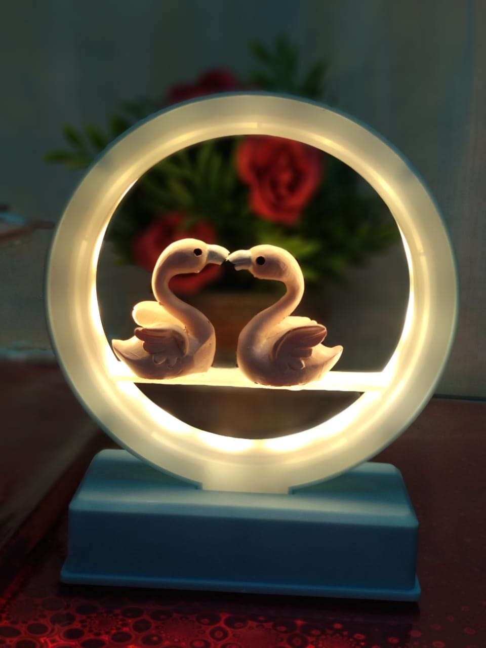 Couple swans LED lamp and showpiece -CT98