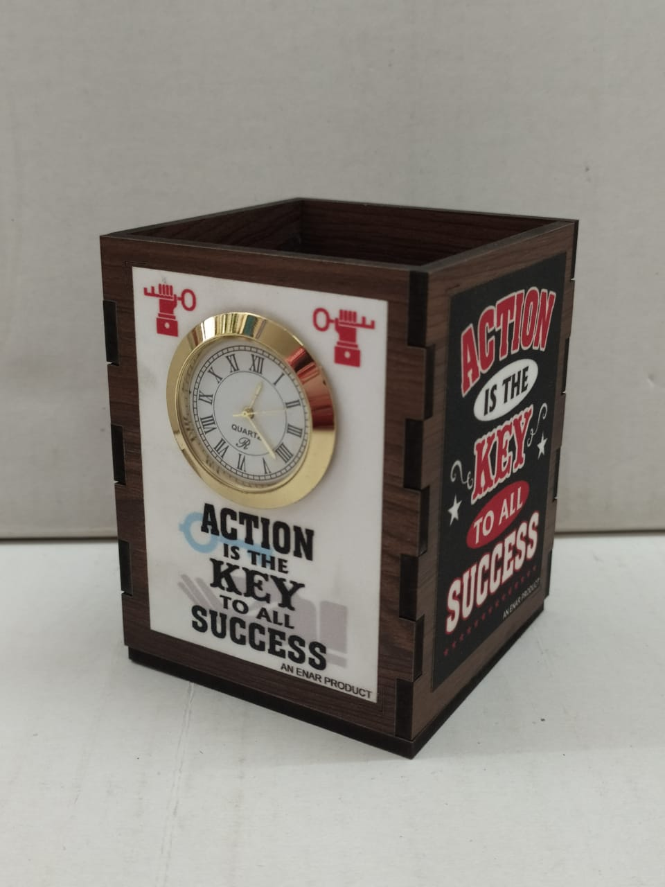 Pen Stand with clock and motivational quotes (NY4)