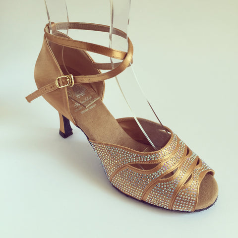 Sara Tan Dance Shoes cross strap with crystal diamante