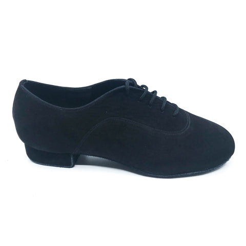 "Black suede Men's lace dance shoes in 1"" Heel"