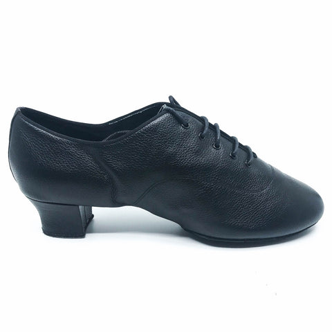 Black leather lace cuban heel men's dance shoes