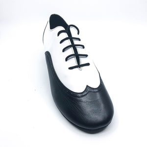 "Black and White leather lace men's dance shoes in 1.5"" cuban heel"