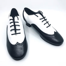 "Load image into Gallery viewer, Black and White leather lace men's dance shoes in 1.5"" cuban heel"