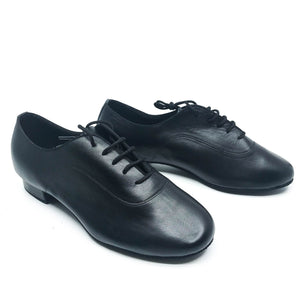 "Black leather lace men's dance shoes in 1"" heel"