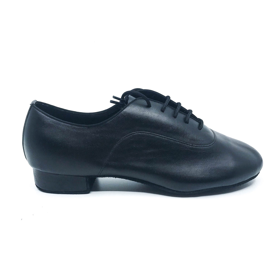 Black leather lace men's dance shoes in 1
