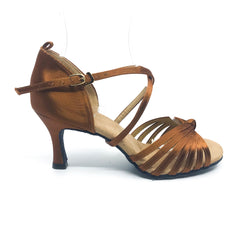 "Lisa Dark Tan 2.7"" heel/size 5.5"