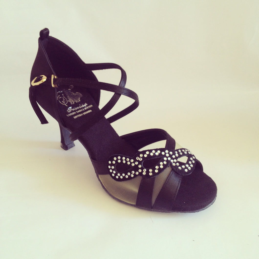 Sienna Black cross strap dance shoes with mesh with crystal diamante and