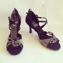 Load image into Gallery viewer, Sienna Black satin cross strap dance shoes with mesh with crystal diamante