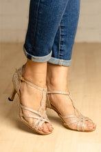 "Load image into Gallery viewer, Chloe Shimmy Gold 2.7"" Heel"