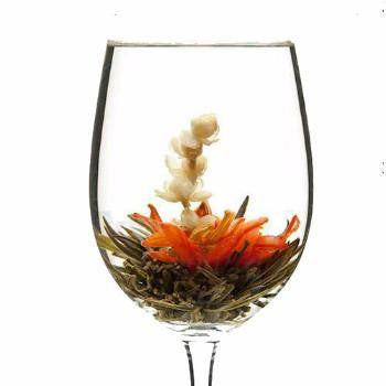 wine glass blooming tea