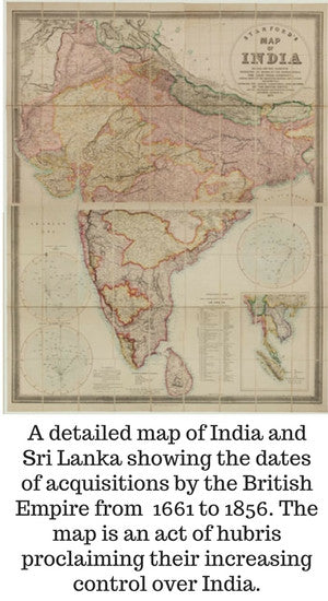 A map of India by the East India Company showing British influence