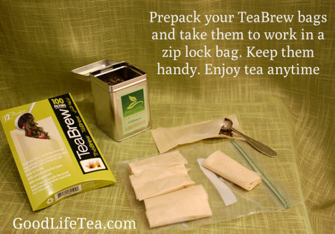 Pack you BrewBags with your favorite tea. Enjoy your tea at work