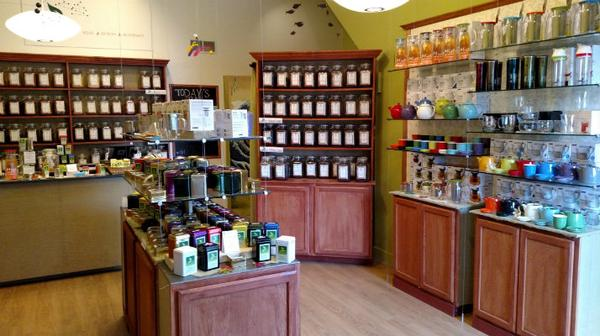 Store Interior shot showing teaware and tea display