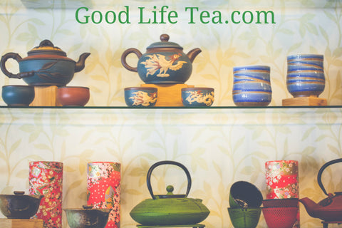 Good Life Tea interior shot showing Cast Iron Tea pots