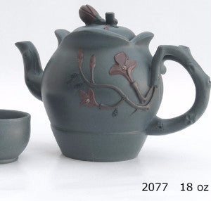 Flowered Teapot and matching tea cups in light gray - Yixing - Good Life Tea