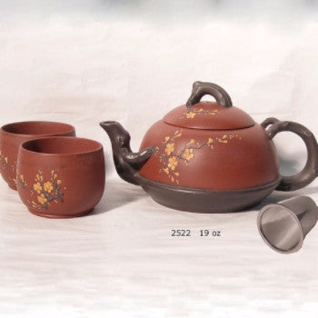 2 Tone Cherry Blossom Yixing Tea Set - Good Life Tea