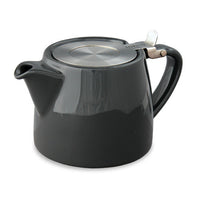 Small 18 ounce Ceramic Teapot with Loose Tea Infuser basket -  Assorted Colors