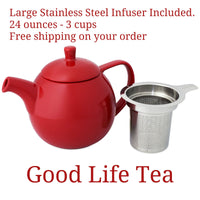 Lead Free red ceramic teapot with stainless steel infuser 24 ounces