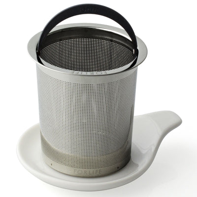 Dish to set loose tea infuser basket - assorted colors