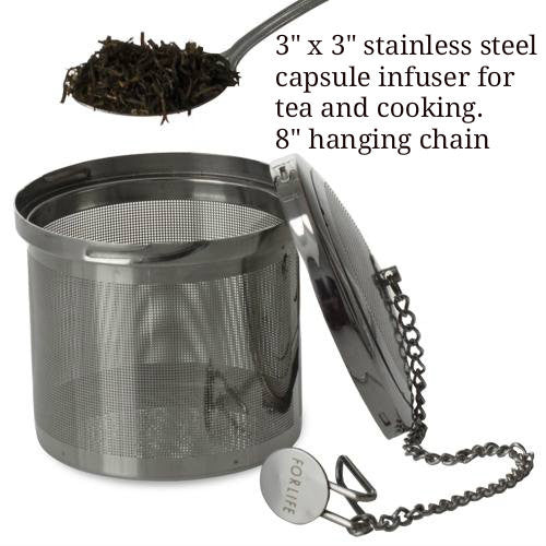 Large Stainless Steel tea infuser with hanging chain. - Good Life Tea