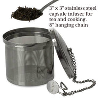 3 inch capsule infuser (basket) with chain and lid. food-grade rigid Stainless steel