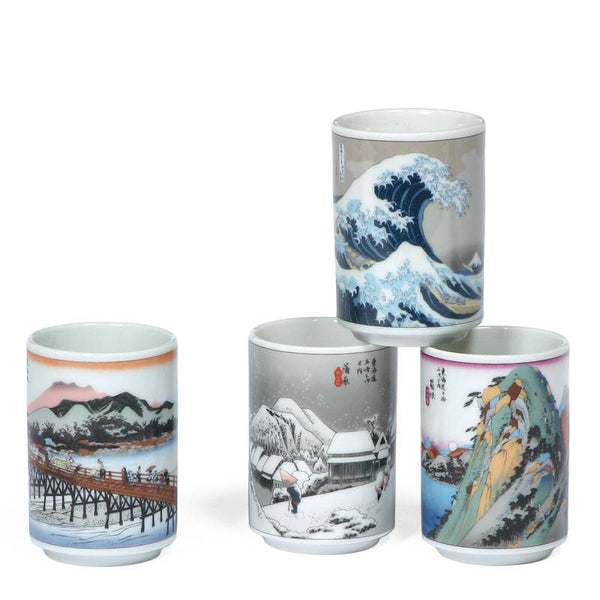 Set of 4 Japanese tea cups with wood cut scene of Tokaido