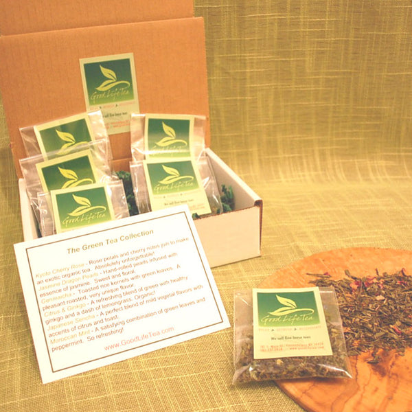 premium loose leaf green tea 6 pack sampler $10 Free Shipping