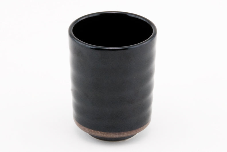 Black Japanese Tea Cup with Ridges - Good Life Tea