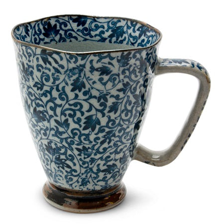 Tapered Mug with Blue Vines