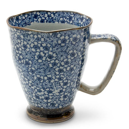 Tapered Mug with Small Blue Flowers - Good Life Tea