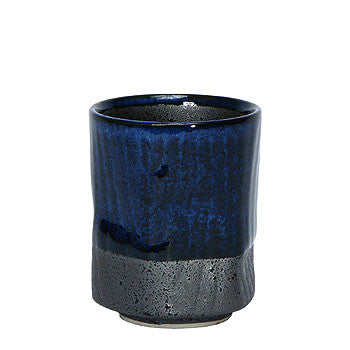 Namako glazed traditional japanese tea cup blue and gray