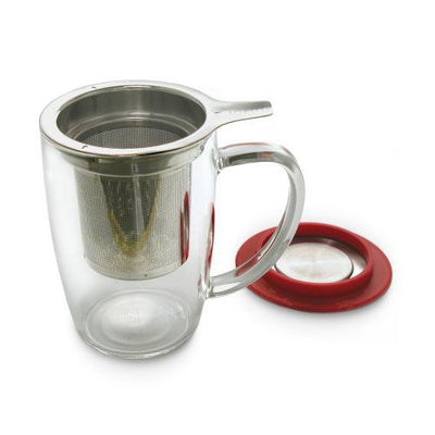 Glass Tea Cup with Strainer & Lid