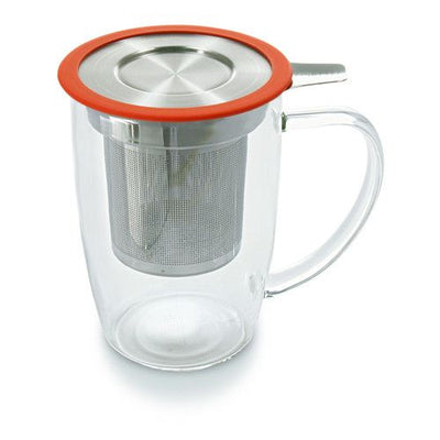 Glass Tea Cup with Stainless Steel Infuser (Strainer) & Lid - Good Life Tea