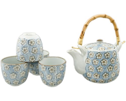 Japanese Blue Cherry Blossom Cup and Teapot set - Good Life Tea