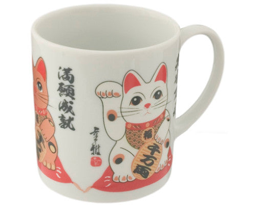Japanese good luck cat mug