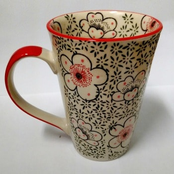 Tall Mug with White Cherry Blossoms and Red handle