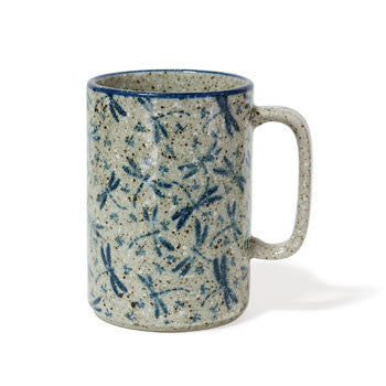 Japanese blue dragonfly ceramic glazed mug 16 ounces