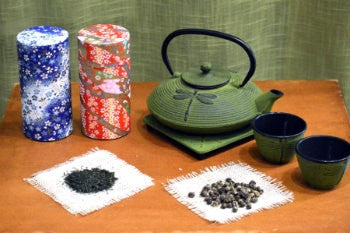 Gift Set - Japanese Cast Iron Tea Set with 2 Premium Teas