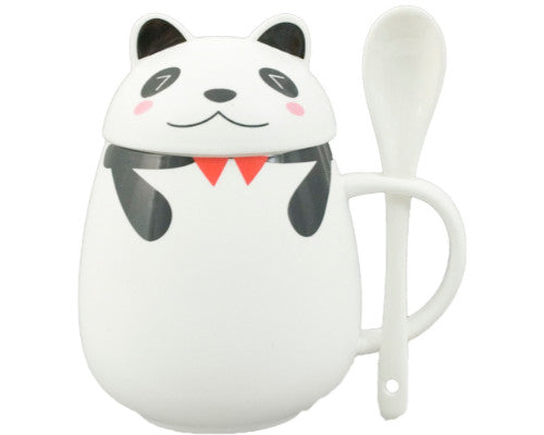 Panda Mug with Lid and Spoon