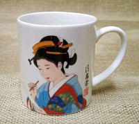 Japanese Kimono geisha print tea coffee mug blue red