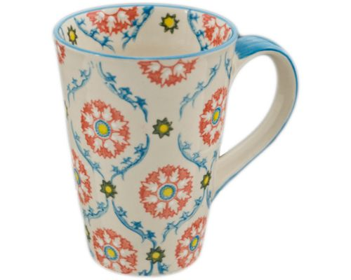 Tall Mug with Red and Blue Pattern