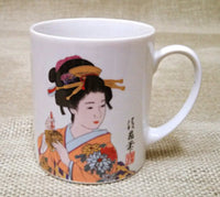 Japanese Kimono geisha print tea coffee cup  orange