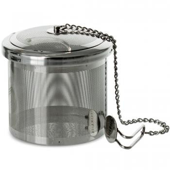 Stainless Steel pod infuser with hanging chain. Great for iced tea and kombucha