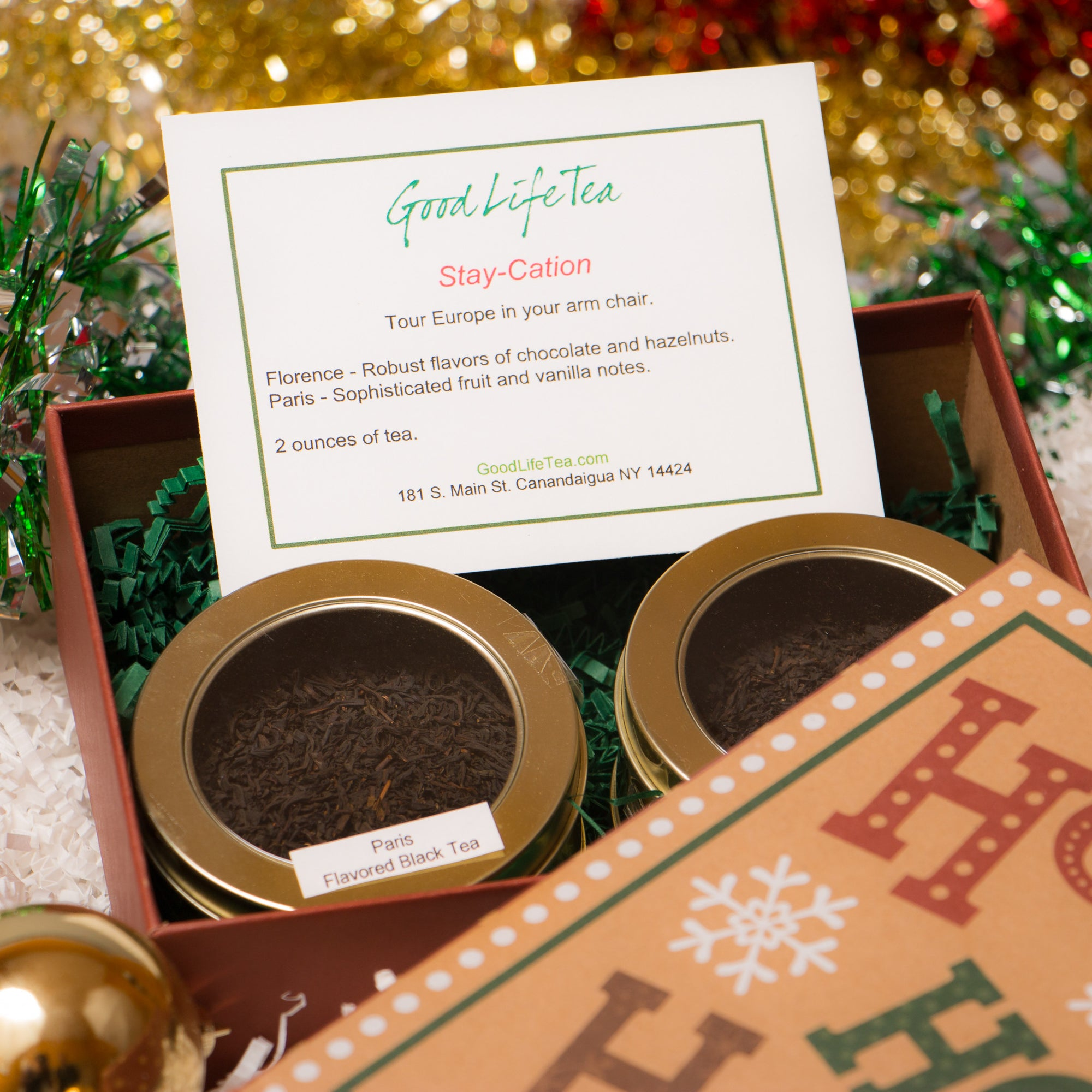 2 Loose teas Paris and Florence in a holiday gift Box.