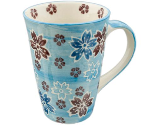 Tall Mug with Purple and Blue Cherry Blossoms with Blue Handle