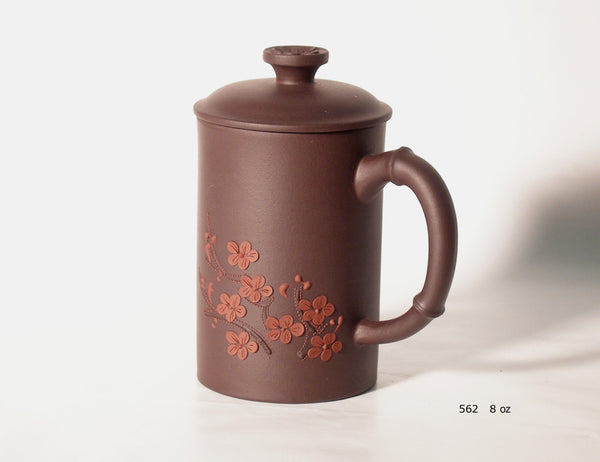 Cherry Blossom Tea Cup with Lid - Yixing clay