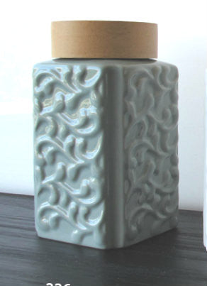Glazed Ceramic Tea Canister - Jade