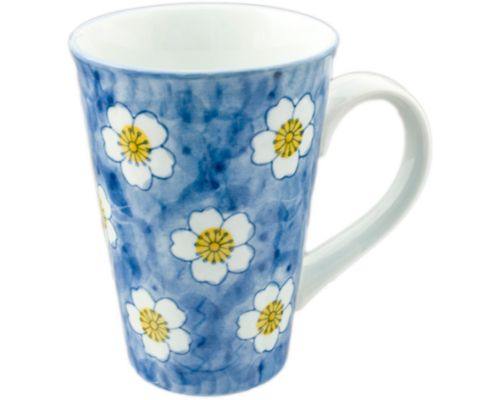 Tall Mug with White Cherry Blossoms on Blue
