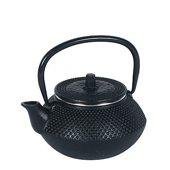Traditional Japanese hobnail pattern 10 ounce black cast iron tea pot with stainless infuser basket