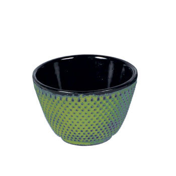 Japanese Cast Iron Tea Cup Hobnail Pattern Green